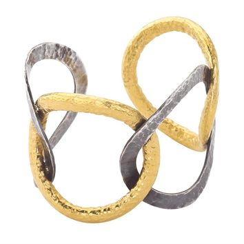 Lika Behar 24K Gold & Oxidized Silver Cuff Bracelet | Jewelista