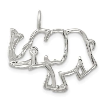 925 Sterling Silver Diamond Cut Outline of Elephant Shaped Pendant
