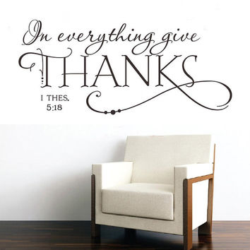2016 New English Words Quotes In Everything Give THANKS Wall Sticker Decal DIY Art Christian Jesus Family Home Living Room Decor