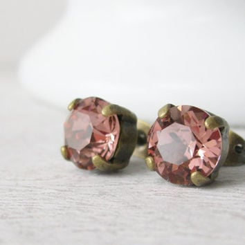 Blush Rose Stud Earrings, Rustic Bridal, Peach Pink, Rustic Bridesmaid Earrings, Classic Studs, Antique Brass, Summer Wedding Jewellery
