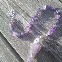 Crystal Pendulum,Amethyst Pendulum,Dowsing Pendulum Shamans Tool, Wiccan Pagan Pendulum,Witchcraft Altar tools,witchy wicca
