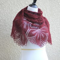 Knit shawl, lace shawl in burgundy red color, lace wrap, gift for her