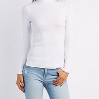 Ribbed Turtleneck Fitted Top