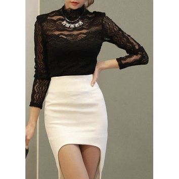 Fashionable Turtle Neck See-Through Lace Long Sleeve Women's Blouse