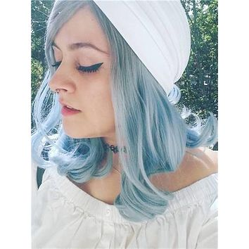Short Light Navy Blue Ombre Synthetic Lace Front Wig
