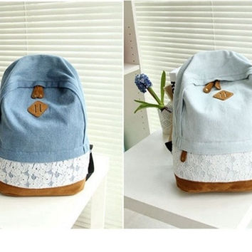 Cute Girls Women's Vintage Denim Satchel Backpack Rucksack Shoulder School Bag = 1929705284