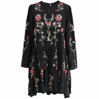 Floral Embroidered Straight Dress