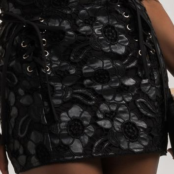 AKIRA High Rise Pleather Lace Overlay Lace Up Mini Skirt in Black