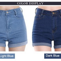 Zeagoo Womens Korea Style High Waist Crimping Denim Shorts Jeans Shorts