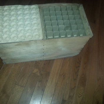 Vintage Antique Wood  Farm Primitive Centrals Large Egg Crate - Chest
