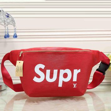 LV X Supreme Women Leather Purse Waist Bag Single-Shoulder Bag Crossbody