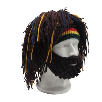 21e0f5f225b Handmade Mens Rasta Hat with Beard Jamaica Beanie Knit Crochet B