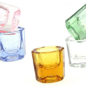 3PCS Healthy Crystal Octagonal Glass Cup Dappen Dish for Nail ArtLiquid PowderHU