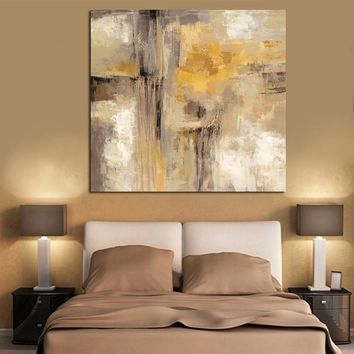 HD Print Yellow Gray Abstract Oil painting on Canvas Professional Art Poster Wall Picture for Living Room Sofa Home Decoration