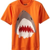 Wes and Willy Big Boys' Shark Tee, Bright Orange, Small