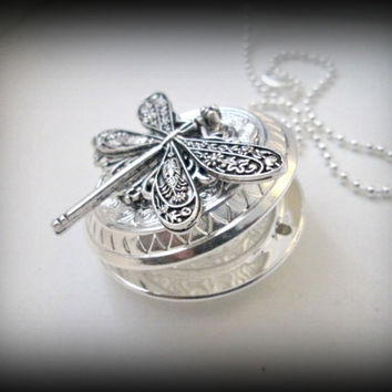 Dragonfly silver necklace-silver dragonfly locket -silver pendant