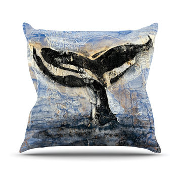 "Josh Serafin ""Whale Tail"" Coastal Painting Outdoor Throw Pillow"