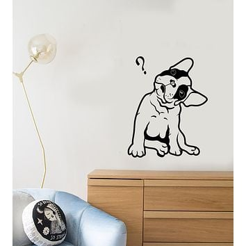 Vinyl Wall Decal French Bulldog Cute Puppy Pet Question Mark Stickers (3946ig)