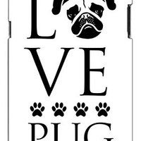 Love Pug Dog Direct Print (not a sticker) Unique Quality Hard Snap On Case for Samsung Galaxy Note 2 Note II N7100 (WHITE)