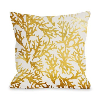 Coral Gold Throw Pillow by OneBellaCasa.com