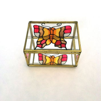 Vintage Glass Metal Box • Rectangular • 1970s Terrarium/Jewelry Box • Stained Glass • Stained Glass Butterfly • Taiwan
