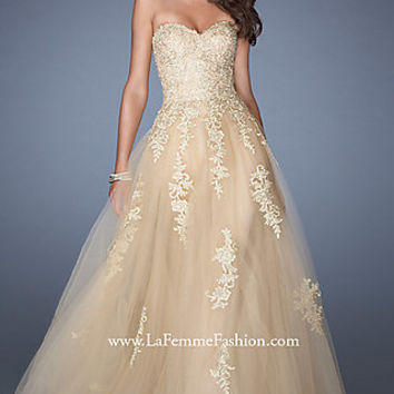 Long Gold Tulle Ball Gown