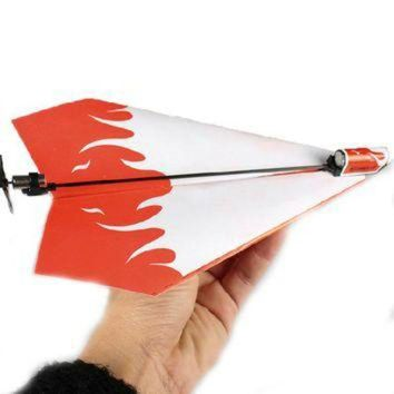 CREYUG7 1 Pc Children DIY Classic Toys Educational Flying Power Up Paper Plane Kids Electric A
