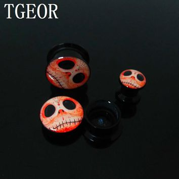 FREE SHIPPING 1 pair  ear tunnels Nightmare Before Christmas internally thread acrylic ear Flesh Tunnel HOT
