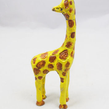 "Painted Colorful Metal Giraffe with Spots 4 1/4"" Tall, Painted Brass Vintage Safari Animal Figure"