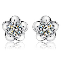 Flower Korean Zircon Stud Earrings