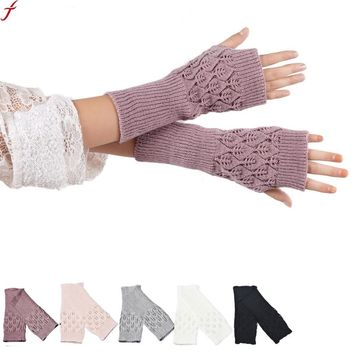 New arrival Wrist Warm Women Half Fingerless Gloves Hollow Out Leaves Knitted Gloves Knit Gloves Mittens Hot Winter Warm