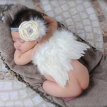 Cute Baby Newborn Photography Props Infant Girls White Angel Feather Wings with Floral Headbands Toddler Costume Set Photo Props