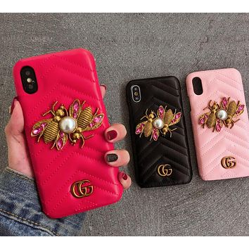 GUCCI New Popular Cute Metal Bees Letter Crystal Mobile Phone Case For iphone 6 6plus iphone 7 7plus iphone 8 8plus iphone X (3-Color) I12485-1