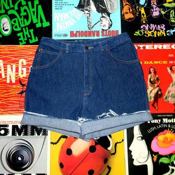 High Waisted Denim Shorts, Vintage 90s Dark Wash Jean Shorts by Cheryl Tiegs, Frayed Rolled Up Cut Offs Size 14 Misses L Large NOS Like New