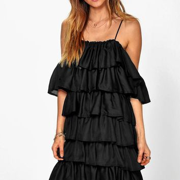Rosie Ruffle Cold Shoulder Strappy Dress | Boohoo