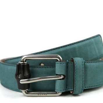 DCCK8X2 Gucci Men's Leather / Suede Bamboo Buckle Belt 336827