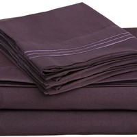 Clara Clark Premier 1800 Collection 4pc Bed Sheet Set - Queen Size, Burgundy Red,