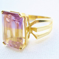 Vintage 14k Gold Ametrine Solitaire Cocktail Ring Fine Jewelry Amethyst & Citrine Jewelry Anniversary Ring