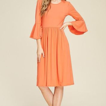 Bell Sleeve Midi Pocket Dress