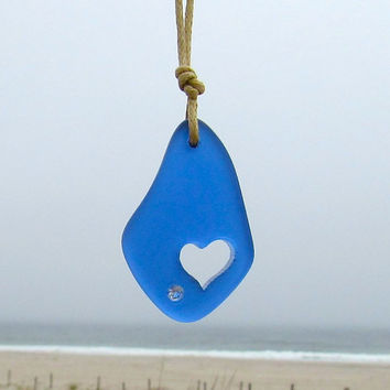 Sea Glass Ocean Blue Carved Heart Beach Style Boho Chic Summer Necklace by Wave of Life