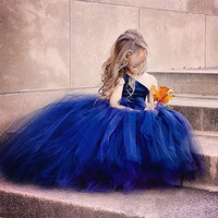 Royal Blue Ball Gown Flower Girl Dress One Shoulder   Kid Birthday Prom Long Party Dress NM 839