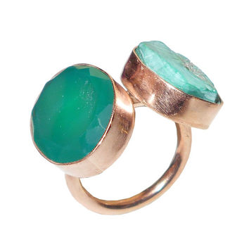 Tibetan Turquoise Jewelry, Rose Gold Plating, Handmade Ring, Oversized Ring, Bold Big Ring, Rough Cut Stone, Wedding Ring, Any Occasion Ring