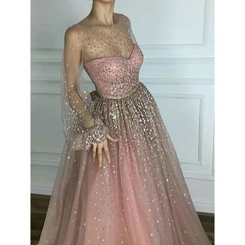 Elegant Pink Sparkly Prom Dresses Long Sleeves Sequins Evening Dress
