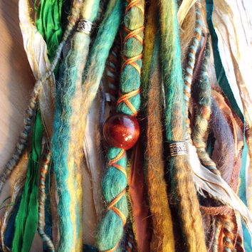 Tie-Dye Multi Color Wool Dreads with X-Cross Wrap & Beads Bohemian Hippie Dreadlocks Tribal Falls Synthetic Boho Extensions Coachella