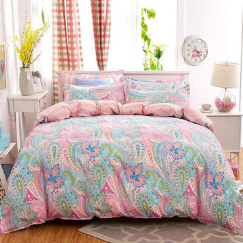 4pcs Bohemian Bedding Set Soft Polyester Bed Linen Duvet Cover Pillowcases Bed Sheet Sets Home Textile Queen Full Coverlets