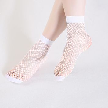 Women's Socks Harajuku Candy Color Breathable Fishnet Socks For Girls Sexy Hollow Out Nets Female Socks calcetines de malla
