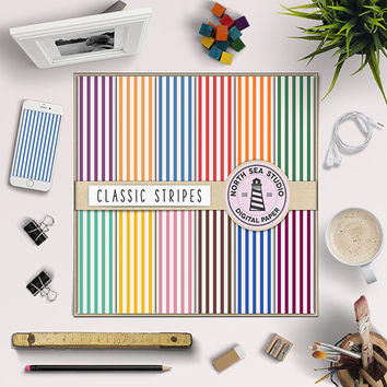 Stripe Digital Paper Rainbow Scrapbook Paper Striped Pattern Party Paper Colorful Stripe 12x12 Inches Background Printable Stripes Gift Wrap