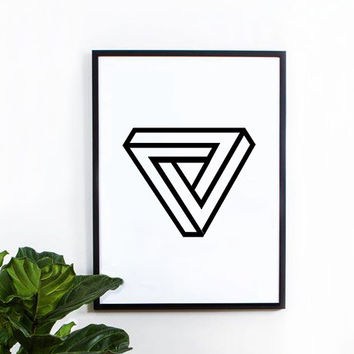 3d triangle poster, inspirational, wall decor, motto, home decor, print art, gift idea, graphic art, geometric print, black and white poster