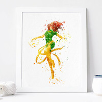 Phoenix, Jean Grey, Watercolor, Art Print, Home Wall decor, Watercolor Print, Marvel Poster, Aquarelle