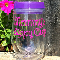Bev2go Stemless Wine Glass Tumblers with lid and straw; Lilly Pulitzer Inspired Monogram, 10 oz Wine Tumbler, Mommy's Sippy Cup Wine Tumbler
